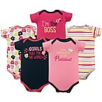 "Luvable Friends® Size 0-3M 5-Pack ""Girls Rule"" Short Sleeve Bodysuits in Pink/Yellow"
