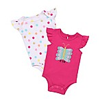Baby Starters® Newborn 2-Pack 3D Butterfly Flutter Sleeve Bodysuit Set in Pink