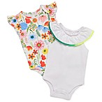 Baby Starters® Size 6M 2-Pack Eyelet Lace and Wildflower Bodysuits in White
