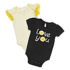 Baby Starters® Newborn 2-Pack  Love You  Daisy Bodysuits in Black