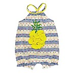 Mud Pie® Size 3-6M Stripe Pineapple Romper in Navy