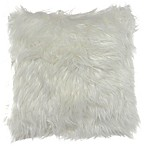City Scene Shag Faux Fur 16-Inch Square Throw Pillow in Natural