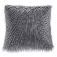Madison Park Edina Faux Fur 20-Inch Square Throw Pillow in Grey