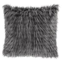 Madison Park Edina Faux Fur 20-Inch Square Throw Pillow in Black