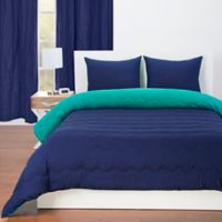 Crayola® Reversible Solid 2-Piece Twin Comforter Set in Blue Green/Navy Blue