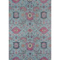 Momeni Jewel 9' x 12' Floral Loomed Area Rug in Blue