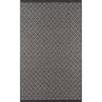 Momeni Como Segmented Diamond 6'7 x 9'6 Indoor/Outdoor Area Rug in Charcoal