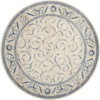 Nourison Somerset 5'6 Round Area Rug in Ivory/Blue
