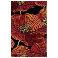 "Nourison Fantasy Bold Floral 21"" x 33"" Accent Rug in Black"