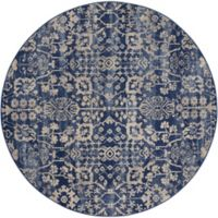 Nourison Medallion 5'6 Round Area Rug in Navy