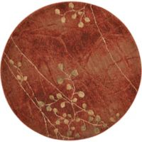 Nourison Somerset Branches 5'6 Round Area Rug in Red