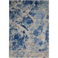 Nourison Marble 3'6 x 5'6 Loomed Area Rug in Blue
