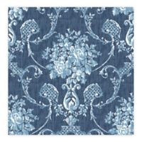 A-Street Prints Winsome Floral Damask Wallpaper in Blue