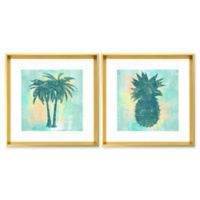 Stylecraft Home Tropical Paradise in Aquamarine 18-Inch Square Framed Wall Art (Set of 2)