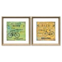 Stylecraft Home Bicycle Inspirations 18-Inch Square Framed Wall Art (Set of 2)