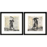 Stylecraft Home Kiss in the Rain 18-Inch Square Framed Wall Art (Set of 2)