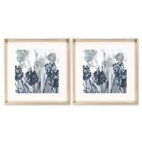 Blue Abstract Flowers Wall Art (Set of 2)