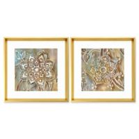 Stylecraft 20-Inch x 18-Inch Madala in Henna 2-Piece Framed Wall Art Set in Brown