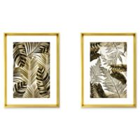 Stylecraft 20-Inch x 18-Inch Gold and Black Palms 2-Piece Framed Print Wall Art Set