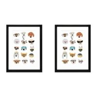 Pets with Glasses 20-Inch x 18-Inch Wall Art (Set of 2)