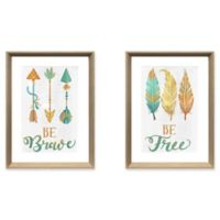 "Stylecraft ""Be Brave/Be Free"" 2-Piece Framed Print Wall Art Set"