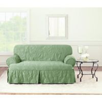 Sure Fit® Matelasse Damask T-Loveseat Cover in Sage