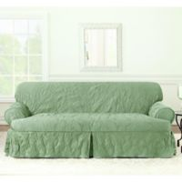 Sure Fit® Matelasse Damask T-Sofa Cover in Sage