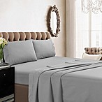 Tribeca Living 350-Thread-Count Deep Pocket Cotton Percale King Sheet Set in Silver
