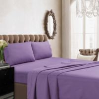 Tribeca Living 350-Thread-Count Deep Pocket Cotton Percale King Sheet Set in Lavender