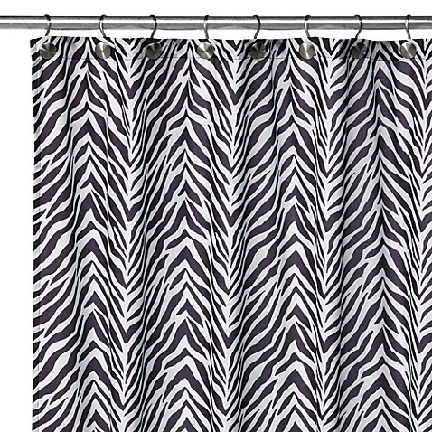 Watershed® Single Solution™ 2-in-1 Zebra Fabric Shower Curtain ...