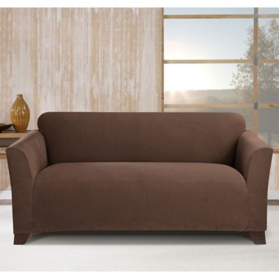 Sure Fit Stretch Morgan Box Cushion Sofa Cover In Chocolate