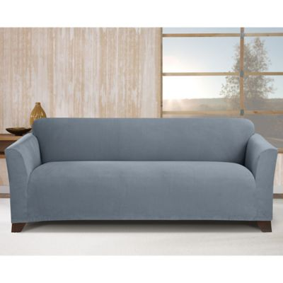 Sure Fit Stretch Morgan Box Cushion Sofa Cover In Storm Blue