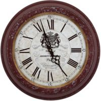 Yosemite Home Décor Paris Perfumers 16-Inch Wall Clock in Distressed Red