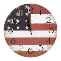 Yosemite Home Décor Ole Red, White & Blue Patriotic 13.31-Inch Wall Clock