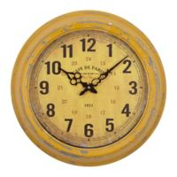 Yosemite Home Décor Cafe De Paris 16-Inch Wall Clock in Distressed Yellow