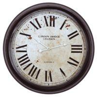 Yosemite Home Décor London Bridge Station 24.6-Inch Wall Clock in Black