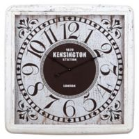 Yosemite Home Décor Vintage Floral 32-Inch Square Wall Clock in White/Black