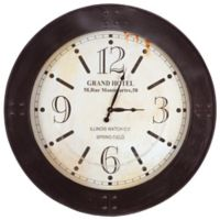 Yosemite Home Décor Grand Hotel 39.5-Inch Wall Clock in Dark Brown