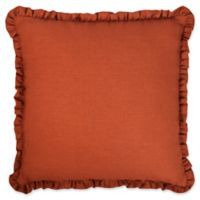 Austin Horn Classics Paradise Peacock 18-Inch Square Throw Pillow in Brown/Coral