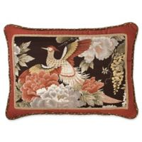 Austin Horn Classics Paradise Peacock Boudoir Throw Pillow in Brown/Coral