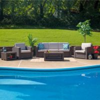 Flash Furniture 5-Piece Outdoor Rattan Sofa Convo Set in Chocolate Brown with Beige Cushions