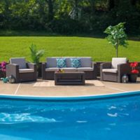 Flash Furniture 4-Piece Outdoor Rattan Sofa Convo Set in Chocolate Brown with Beige Cushions