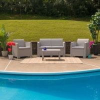 Flash Furniture 4-Piece Outdoor Rattan Loveseat Convo Set in Charcoal
