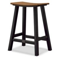 POLYWOOD® Contempo 24-Inch Saddle Patio Bar Stool in Black/Teak
