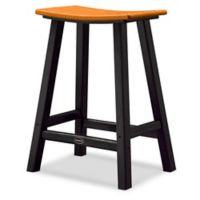 POLYWOOD® Contempo 24-Inch Saddle Patio Bar Stool in Black/Tangerine