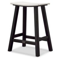 POLYWOOD® Contempo 24-Inch Saddle Patio Bar Stool in Black/White