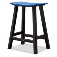 POLYWOOD® Contempo 24-Inch Saddle Patio Bar Stool in Black/Blue