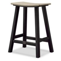 POLYWOOD® Contempo 24-Inch Saddle Patio Bar Stool in Black/Sand