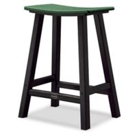 POLYWOOD® Contempo 24-Inch Saddle Patio Bar Stool in Black/Green