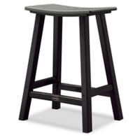 POLYWOOD® Contempo 24-Inch Saddle Patio Bar Stool in Black/Slate Grey